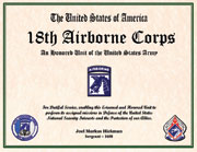 18th Airborne Corps Certificate