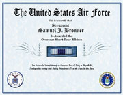 US Air Force Overseas Short Tour Ribbon Certificate
