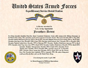 US Armed Forces Foreign Expeditionary Service Medal Citation Certificate