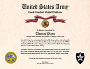 US Army Good Conduct Medal Certificate