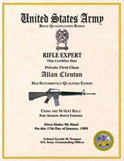 US Army Rifle Expert Qualification Certificate