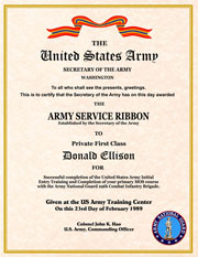 US Army Service Ribbon Certificate