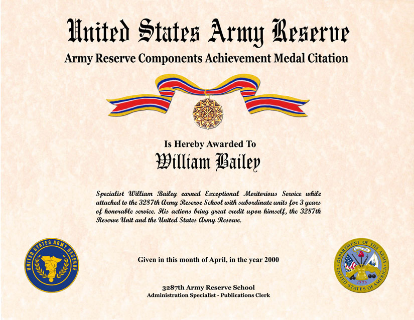 Individual Award Certificate Military Training Unit Awards – Army Certificate of Achievement Template