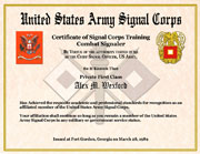 US Army Signal Corps Training Certificate