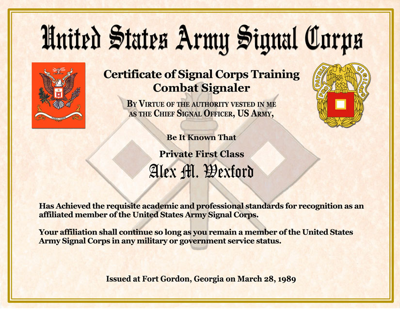 Individual Award Certificate Military Training Unit Awards – Army Certificate of Training Template