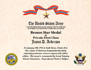 US Armed Forces Bronze Star Medal Certificate