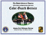 US Military Color Guard Certificate of Service