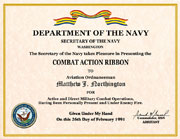 US Navy Combat Action Ribbon Certificate