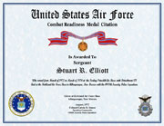 US Air Force Combat Readiness Medal Citation Certificate