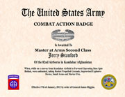 US Army Combat Action Badge Certificate