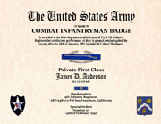 US Army Combat Infantry Badge  Certificate