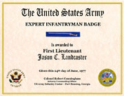 US Army Expert Infantryman Badge Certificate