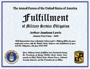 US Armed Forces Military Service Fulfillmnet of Military Service Obligation Certificate