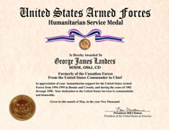 US Armed Forces Humanitarian Service Medal Certificate
