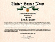 US Navy Commendation Medal Certificate
