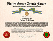 US Armed Forces Outstanding Volunteer Service Medal Citation Certificate