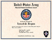US Army Physical Fitness Excellence Award Certificate
