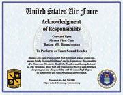 US Air Force Acknowledgement of Responsibility Certificate