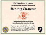 US Security Clearance Acknowledgement of Former Authorization Certificate