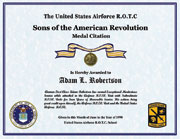 US Air Force Sons of the Revolution Medal Citation Certificate