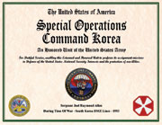 US Special Operation Command Korea Certificate