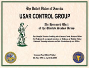 USAR Control Group Certificate
