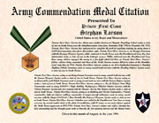US Army Commendation Medal Citation Certificate