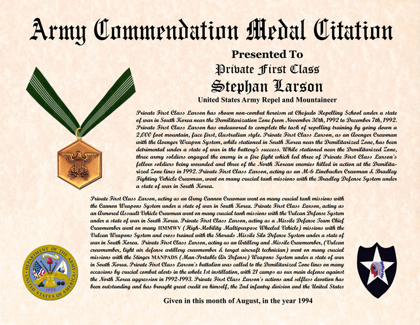 Army Certificate Of Achievement Template. Military Veterans