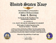 US Navy Search and Rescue Group Membership Certificate