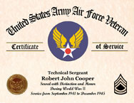 US Army Air Force Personalized Certificate of Service