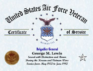 US Air Force Personalized Certificate of Service