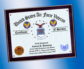 US Air Force Certificate of Service