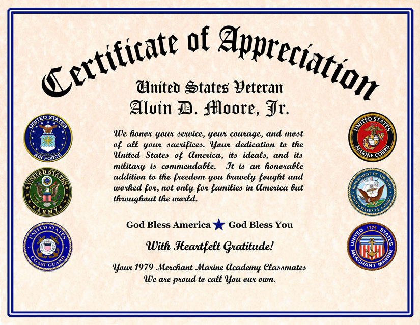 Military veterans appreciation certificates veteran appreciation certificate yadclub Image collections