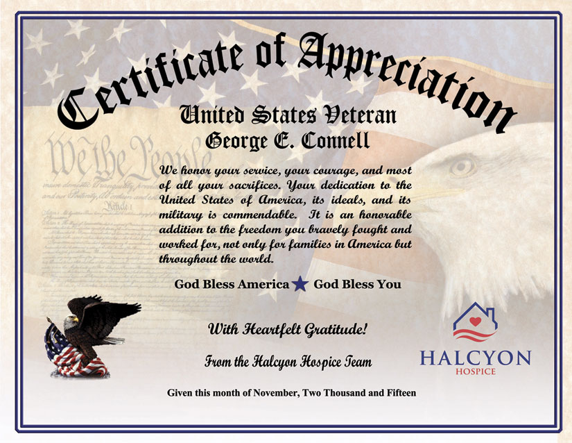 Military Veterans Appreciation Certificates – Certificate of Appreciation Wording Examples