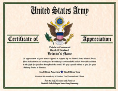 Military Certificate Image Gallery