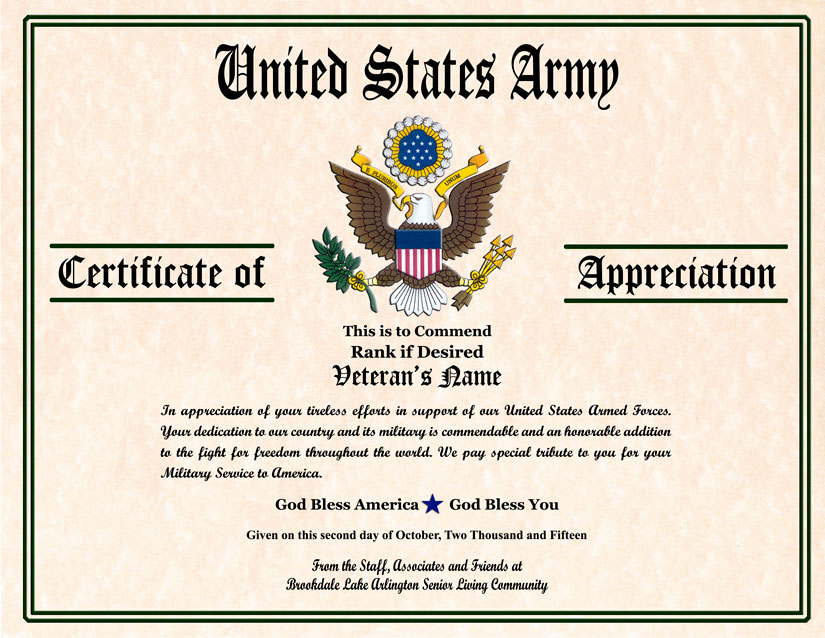 Military veterans appreciation certificates yadclub Choice Image