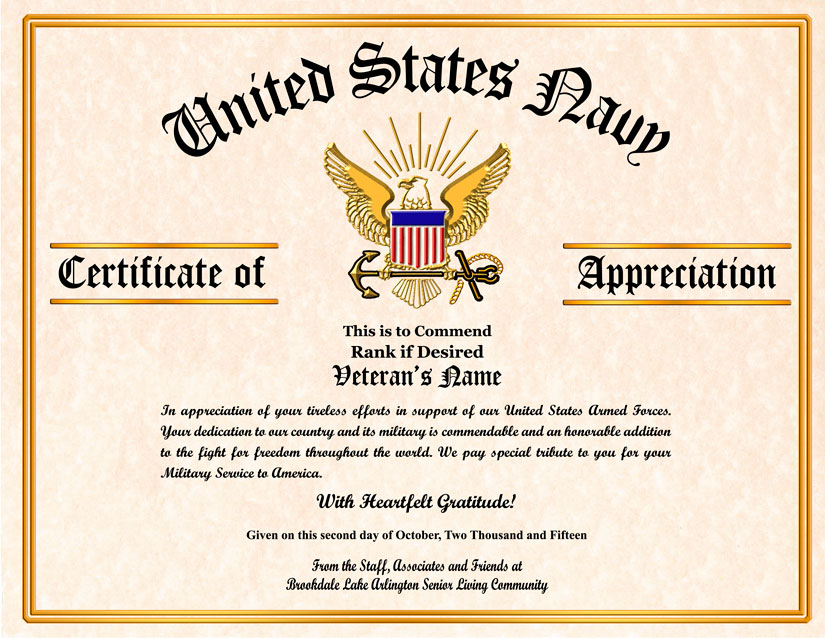 Military veterans appreciation certificates yadclub