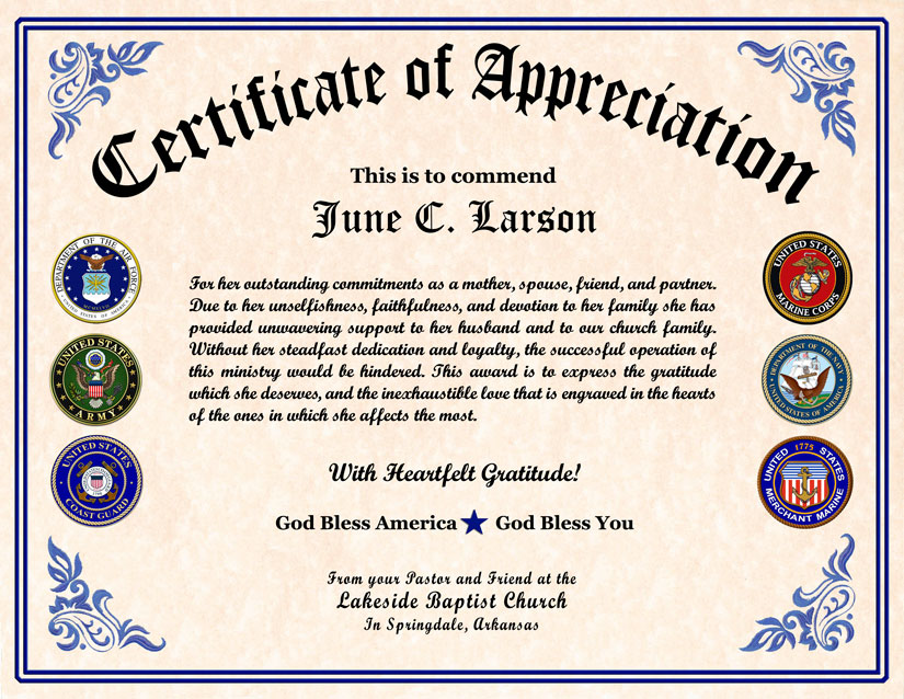 Doc620479 Military Certificate of Appreciation Template – Army Certificate of Appreciation