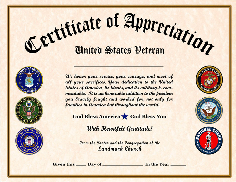 Military veterans appreciation certificates veteran appreciation certificate yadclub Choice Image