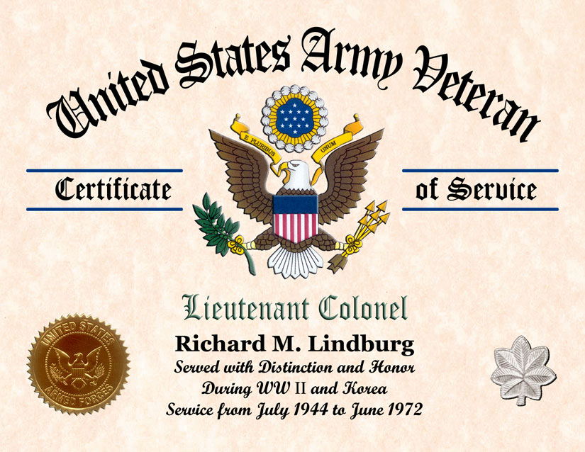 Us Army Veterans Certificate Of Service Displays Awards