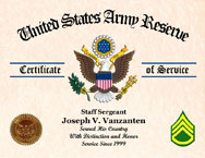 US Army Reserve Personalized Certificate of Service