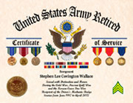 US Army Retired Certificate of Service