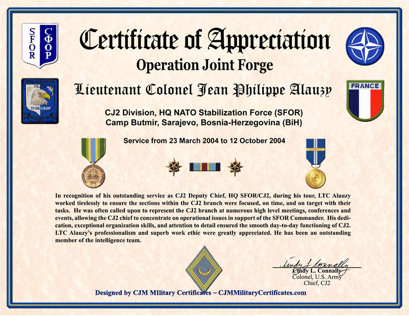 Operation Joint Forge Military Certificate Of Appreciation