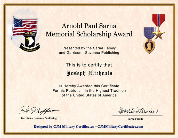 Custom designed military certificates memorial scholarship award certificate yadclub Choice Image