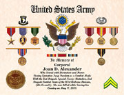 US Army Memorial Certificate with Awards