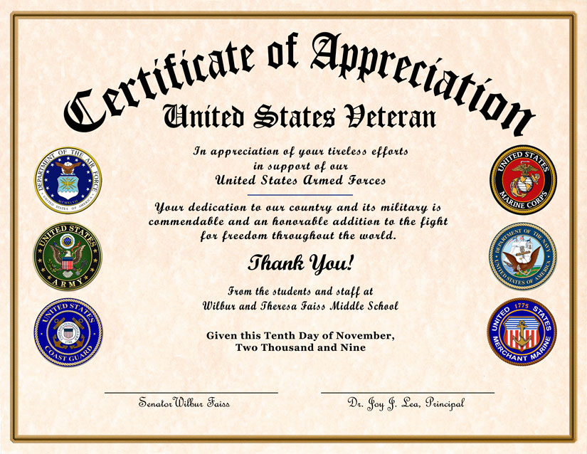 High school reunion veterans appreciation certificate certificate of appreciation samples click on the images to view enlargements yelopaper Image collections