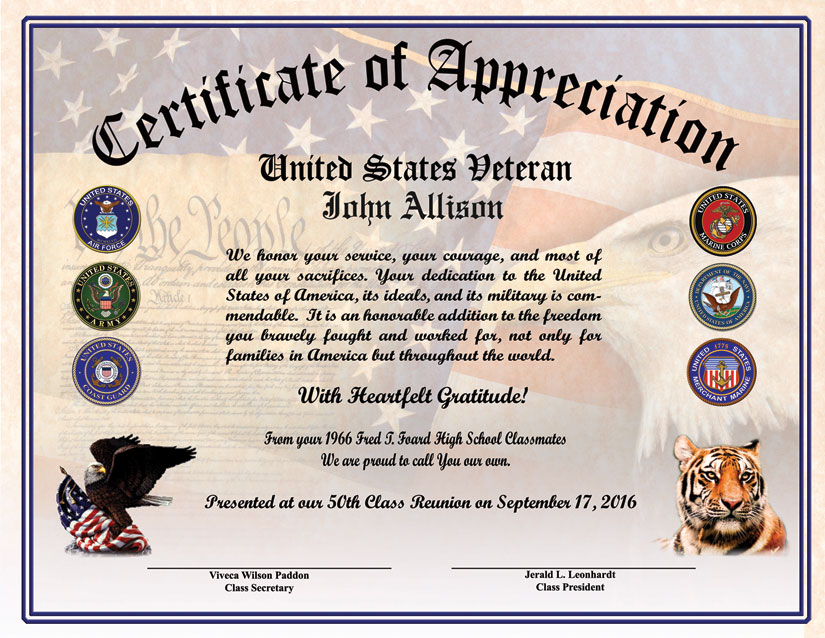 High school reunion veterans appreciation certificate certificate of appreciation samples click on the images to view enlargements yadclub Choice Image