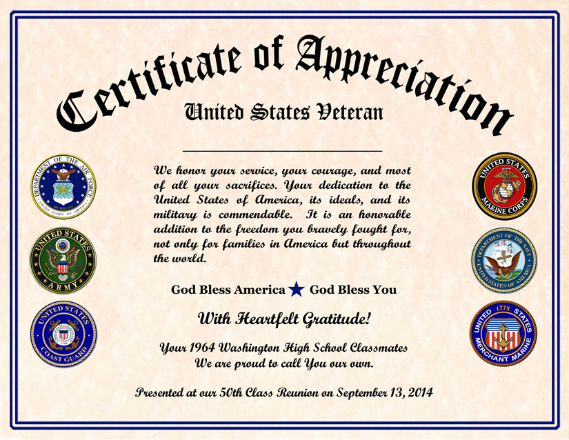 High School Reunion Veterans Appreciation Certificate – Recognition Certificates Wording