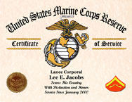 US Marine Corps Reserve Certificate of Service