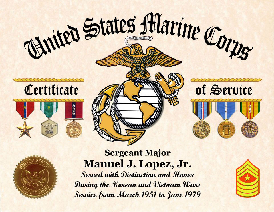 Us Marine Corps Certificate Of Service Displays Awards